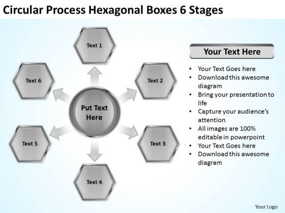 Circular Process Hexagonal Boxes 6 Stages Business Plan Templates PowerPoint