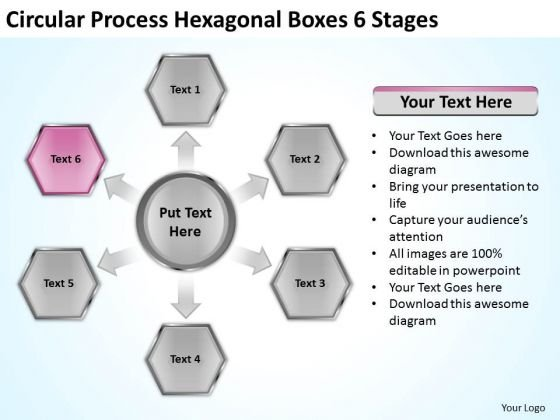 Circular Process Hexagonal Boxes 6 Stages Business Succession Planning PowerPoint Templates