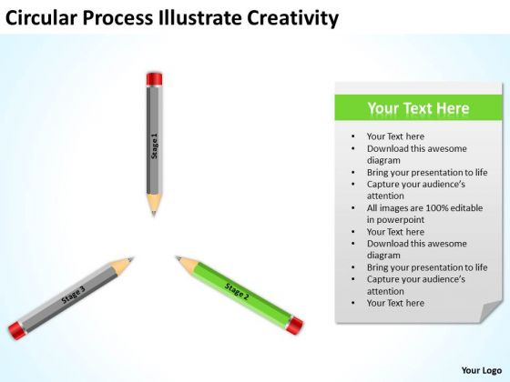 Circular Process Illustrate Creativity Ppt Examples Business Plan Outline PowerPoint Slides