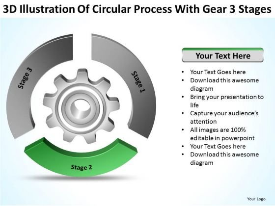 Circular Process With Gear 3 Stages Business Plan Executive Summary PowerPoint Slides
