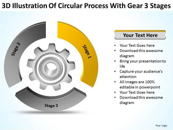 Circular Process With Gear 3 Stages Opening Business Plan PowerPoint Templates