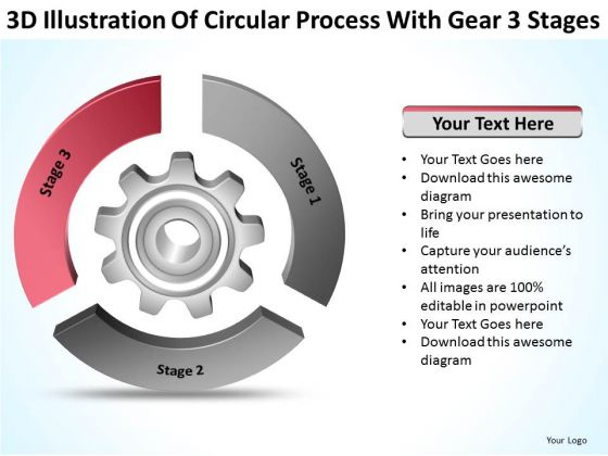 Circular Process With Gear 3 Stages Ppt Writing Good Business Plan PowerPoint Slides