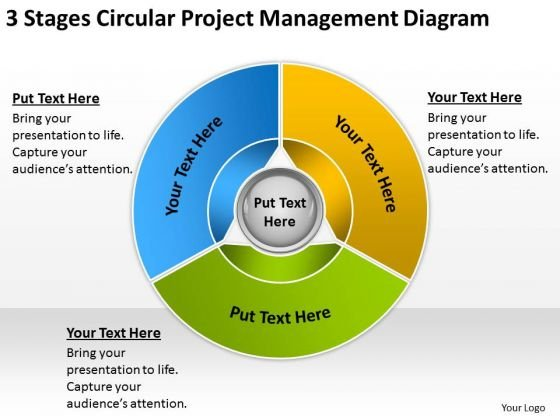 Circular Project Management Diagram Business Plan Template PowerPoint Templates