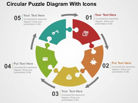 Circular Puzzle Diagram With Icons PowerPoint Templates