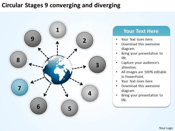 Circular Stages 9 Converging And Diverging Flow Motion Diagram PowerPoint Templates