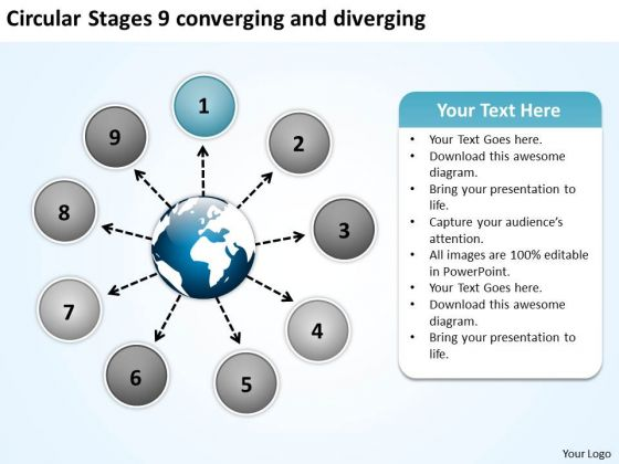 Circular Stages 9 Converging And Diverging Flow Motion Process PowerPoint Templates