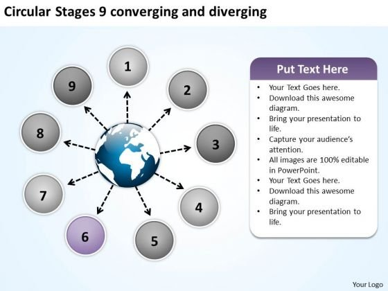 Circular Stages 9 Converging And Diverging Motion Diagram PowerPoint Slides