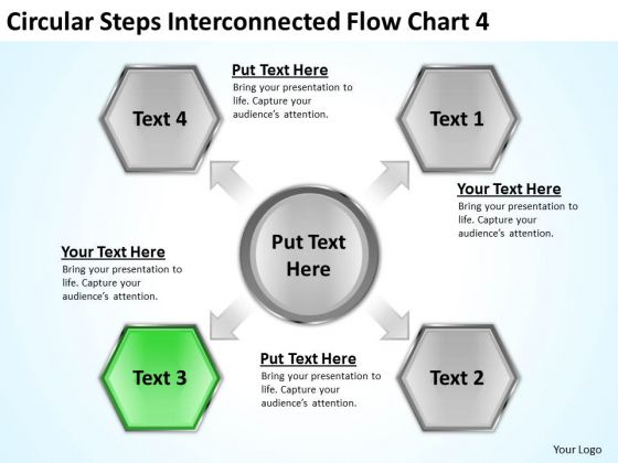 Circular Steps Interconnected Flow Chart Business Plan For PowerPoint Templates