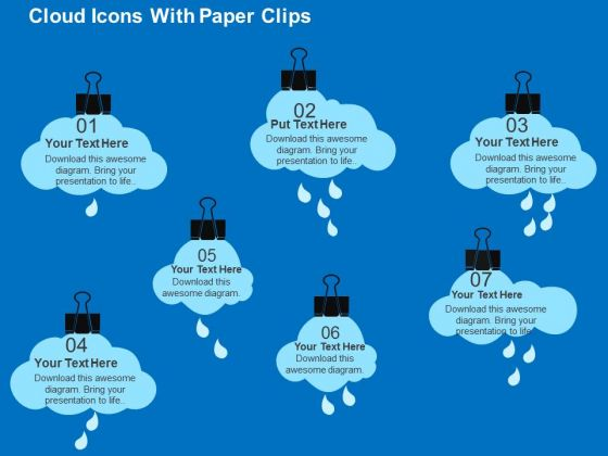 Cloud Icons With Paper Clips PowerPoint Template