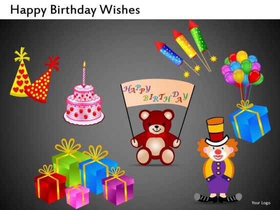 Clown Teddy Bear Gifts PowerPoint Clipart Graphics Slides