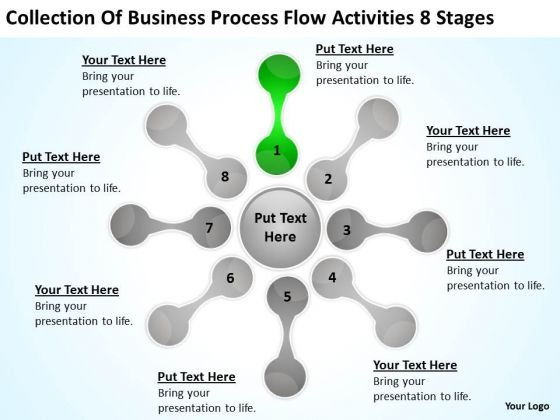 Collection Of Business Process Flow Activities 8 Stages New Plan PowerPoint Slides