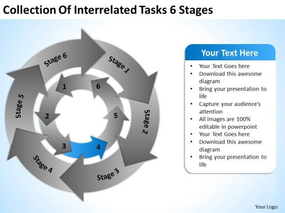 Collection Of Interrelated Tasks 6 Stages Best Business Plan PowerPoint Templates