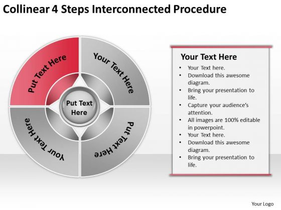Collinear 4 Steps Interconnected Procedure Business Plan PowerPoint Slides