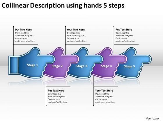 Collinear Description Using Hands 5 Steps Best Flow Chart PowerPoint Slides