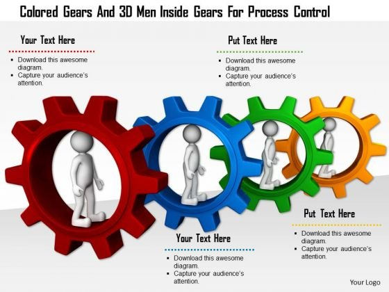 Colored Gears And 3d Men Inside Gears For Process Control