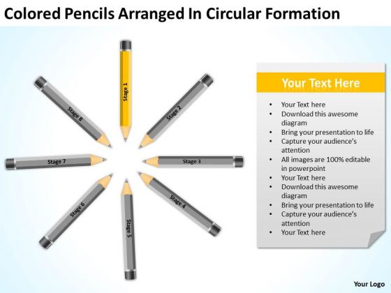 Colored Pencils Arranged In Circular Formation Ppt Business Plan Marketing PowerPoint Templates