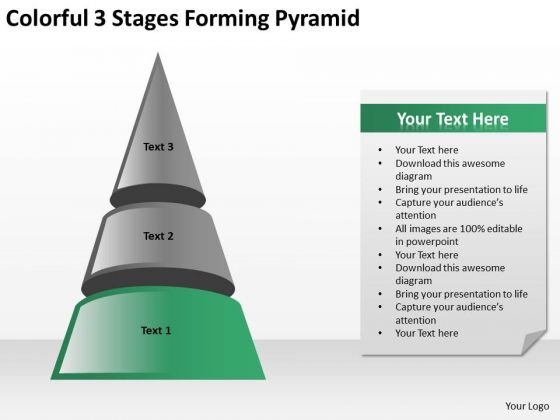 Colorful 3 Stages Forming Pyramid Ppt Business Plan PowerPoint Templates