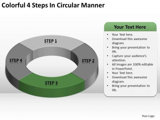 Colorful 4 Steps In Circular Manner Business Plan PowerPoint Template