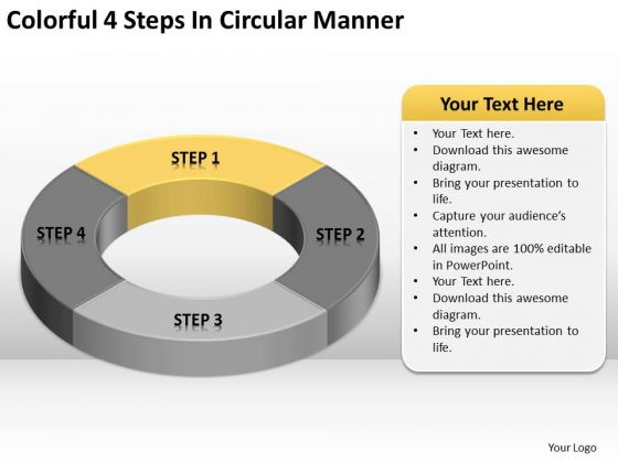Colorful 4 Steps In Circular Manner Business Plan PowerPoint Templates