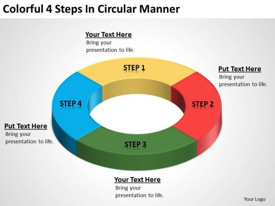 Colorful 4 Steps In Circular Manner Business Plans How To PowerPoint Templates