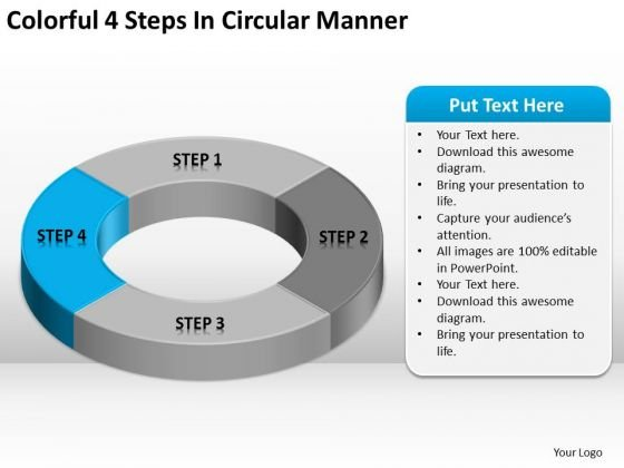 Colorful 4 Steps In Circular Manner Ppt Handyman Business Plan PowerPoint Templates