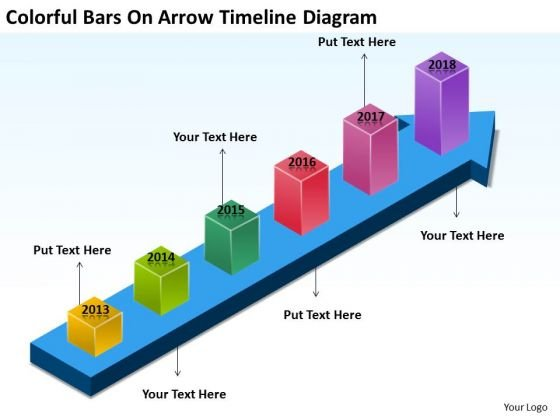 Colorful Bars On Arrow Timeline Diagram Catering Business Plan PowerPoint Templates