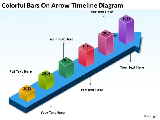 Colorful Bars On Arrow Timeline Diagram Developing Business Plan PowerPoint Slides