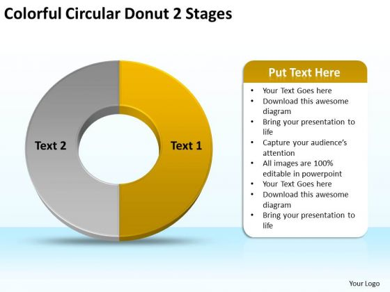 Colorful Circular Donut 2 Stages Business Plan PowerPoint Templates