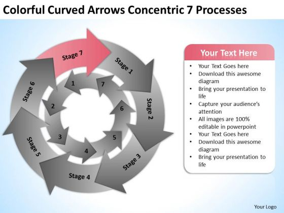 Colorful Curved Arrows Concentric 7 Processess Ppt Business Plan PowerPoint Slides