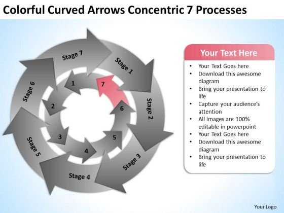 Colorful Curved Arrows Concentric 7 Processess Ppt Business Plan PowerPoint Template