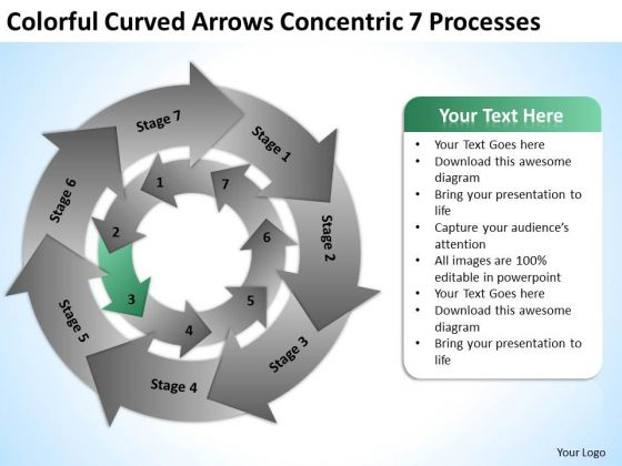 Colorful Curved Arrows Concentric 7 Processess Ppt Business Plan PowerPoint Templates