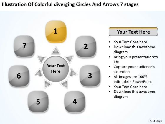Colorful Diverging Circles And Arrows 7 Stages Circular Process Network PowerPoint Templates