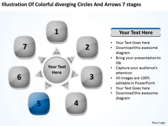 Colorful Diverging Circles And Arrows 7 Stages Cycle Spoke Chart PowerPoint Slides