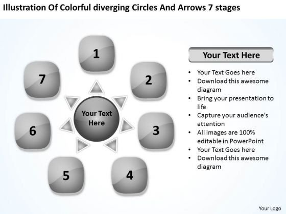 Colorful Diverging Circles And Arrows 7 Stages Venn Diagram PowerPoint Slides
