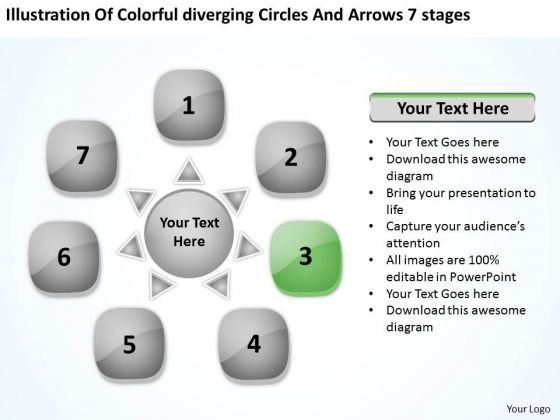 Colorful Diverging Circles And Arrows 7 Stages Venn Network PowerPoint Slides