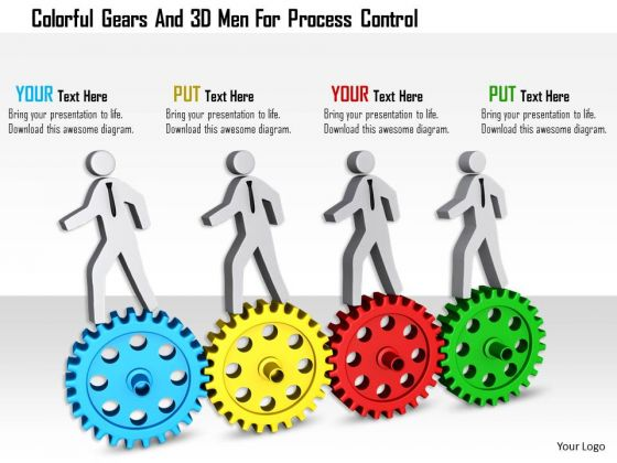 Colorful Gears And 3d Men For Process Control
