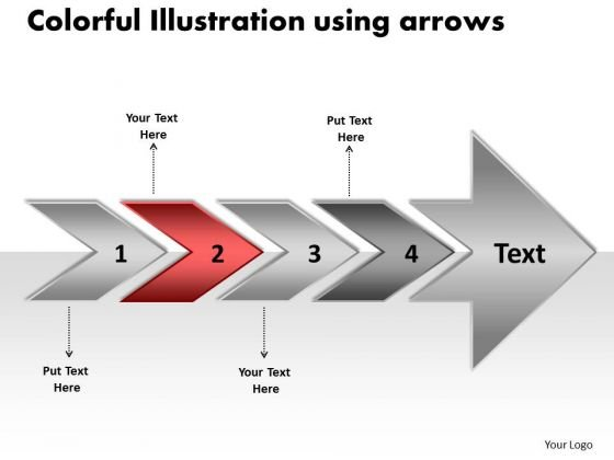 Colorful Illustration Using Arrows Flow Chart Creator Free PowerPoint Templates