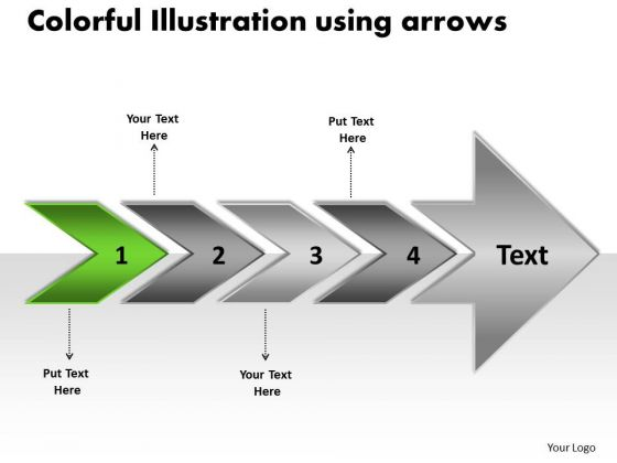 Colorful Illustration Using Arrows Flow Chart PowerPoint Slides