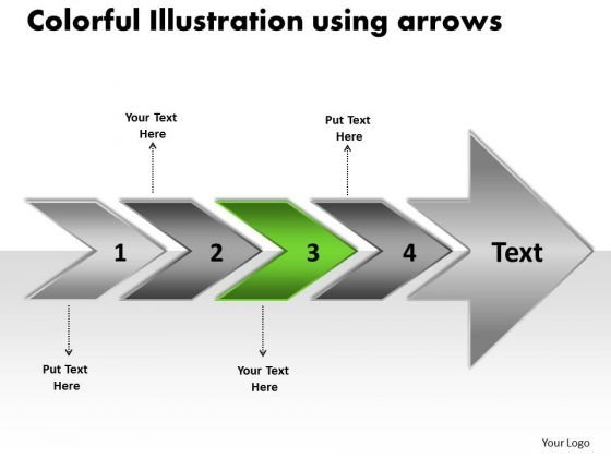 Colorful Illustration Using Arrows Sample Flow Charts PowerPoint Slides