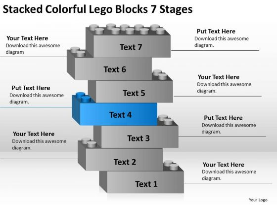 Colorful Lego Blocks 7 Stages Ppt Business Plan PowerPoint Templates