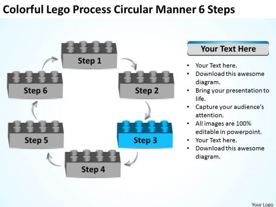 Colorful Lego Process Circular Manner 6 Steps Business Plan PowerPoint Slide