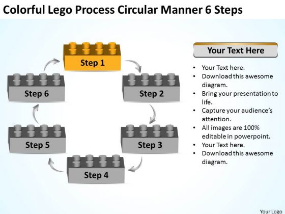 Colorful Lego Process Circular Manner 6 Steps Business Plan PowerPoint Slides