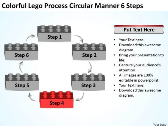 Colorful Lego Process Circular Manner 6 Steps Business Plan PowerPoint Templates