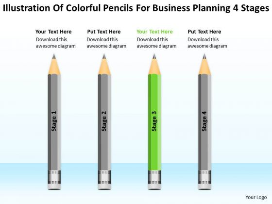 Colorful Pencils For Business Planning 4 Stages Ppt Plans PowerPoint Templates