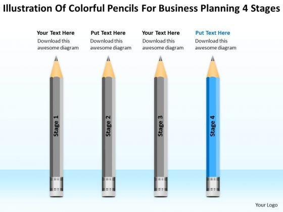 Colorful Pencils For Business Planning 4 Stages Ppt Start Up PowerPoint Slides