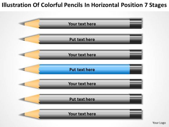Colorful Pencils In Horizontal Position 7 Stages Ppt Business Plan PowerPoint Slides