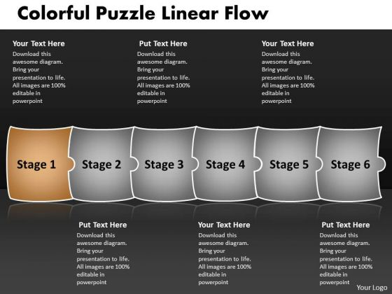 Colorful Puzzle Linear Flow Chart Manufacturing PowerPoint Slides