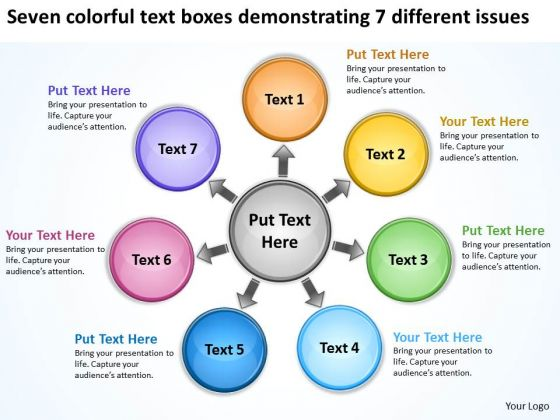 Colorful Text Boxes Demonstrating 7 Different Issues Cycle Process Diagram PowerPoint Slides