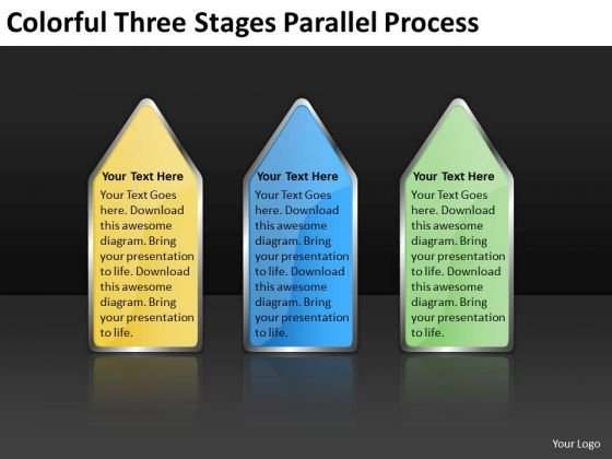 Colorful Three Stages Parallel Process Sample Small Business Plan PowerPoint Slides