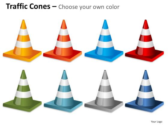Colorful Traffic Cones PowerPoint Images